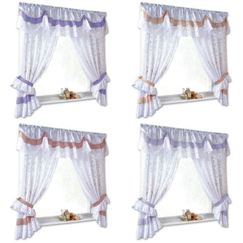 net curtain tie backs romantic lace voile net curtain set with tie backs and