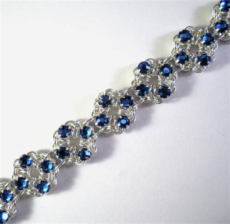 beaded chainmaille jewelry patterns chain maille flower bracelet in sapphire blue swarovski