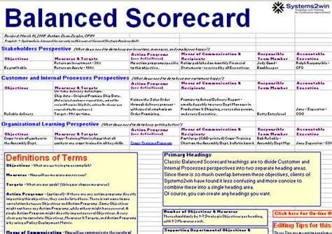 balanced scorecard template balanced scorecard template excel