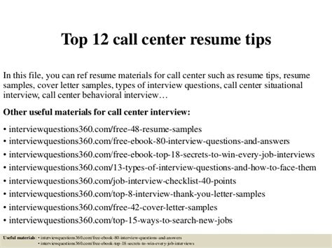 career objectives for call center top 12 call center resume tips