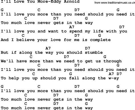 country music lyrics i love you joe country music i ll love you more eddy arnold lyrics and chords