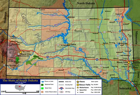 south dakota in usa map map of south dakota topographic map worldofmaps net