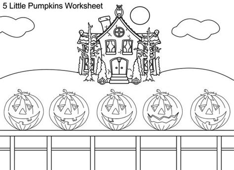 8 images of five little pumpkins coloring page 5 little