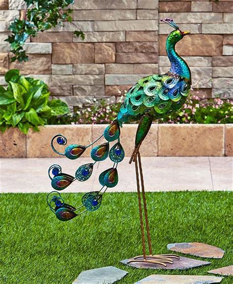 Garden Ornaments And Accessories Galleries by Shimmering Metallic Finish Peacock Or Flamingo Garden Yard