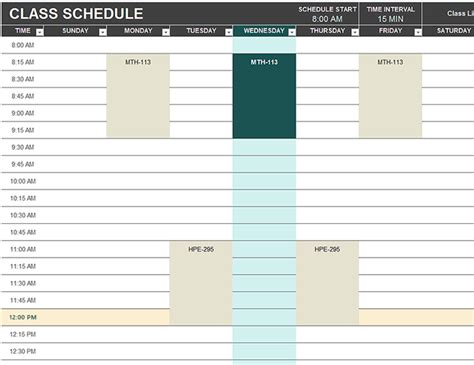 daily schedule template for students student schedule