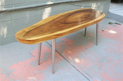 modwerks vintage monkey pod wood coffee table