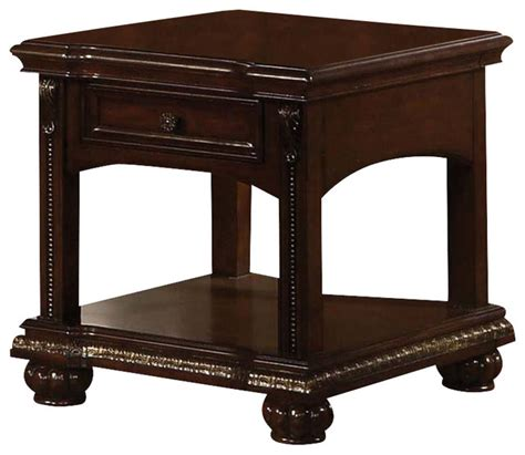 Wood Accent Table Adarn Inc Solid Poplar Wood Cherry Accent Side End Table With Bottom Shelf And Bun