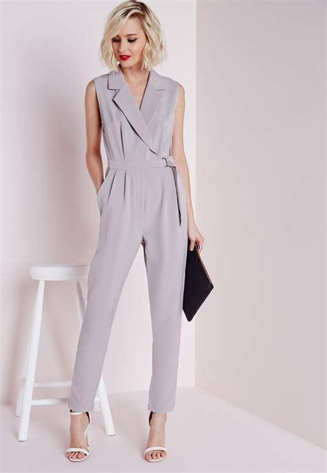 plunge d ring wrap jumpsuit grey