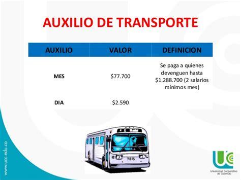 valor de auxilio de transporte para 2016 compensacion laboral 2016 pdf claudia