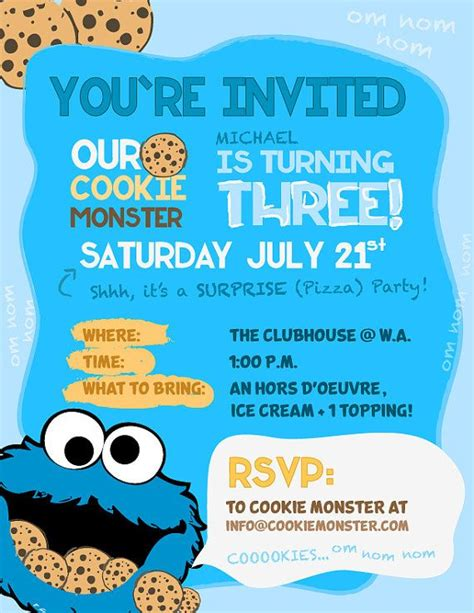 Cookie Monster Party Invitations By Dcstudios On Etsy 15 00 Mmmm Cookies Muppet Theme Cookie Invitations Templates