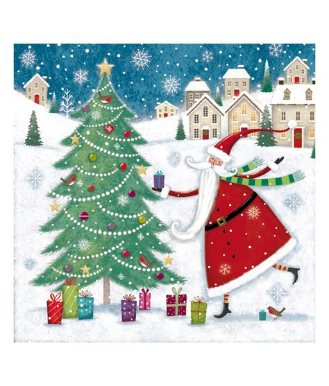 santa and tree christmas card pack of 10 cancer