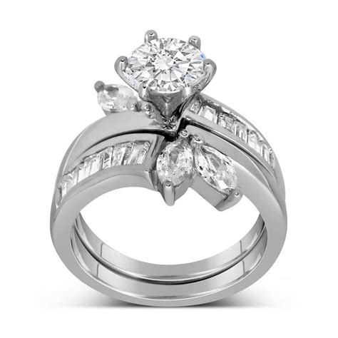 unique and marquise cut wedding ring set for
