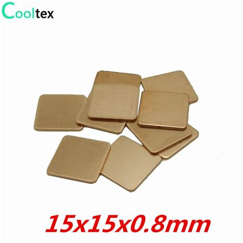 heat sink sheet 20pcs lot 15x15x0 8mm diy copper shim heatsink thermal pad