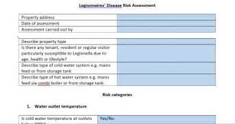 free legionella risk assessment template risk assessment newark nottinghamshire properties