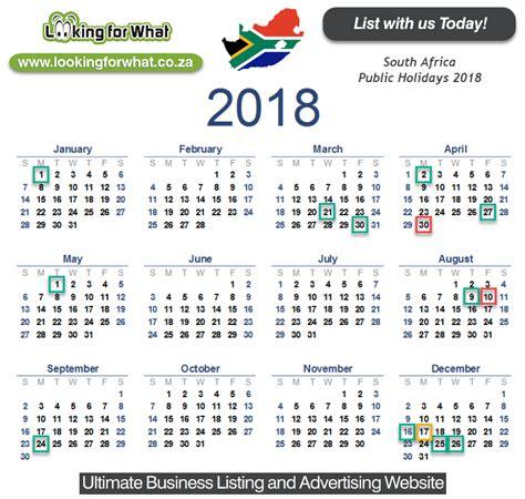 calendar  holidays south africa printable year calendar