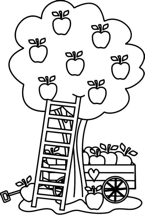 Free Coloring Pages Of Tree Apple Apple Tree Coloring Page