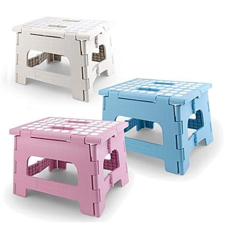rhino ii folding step stool white step stools gt kikkerland 174 rhino ii folding stool in white