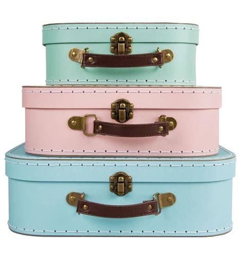 3 pastels vtg storage suitcases boxes trunks set retro