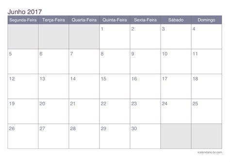 Calendario Mes 2017 Calend 225 Junho 2017 Para Imprimir Icalend 225 Br