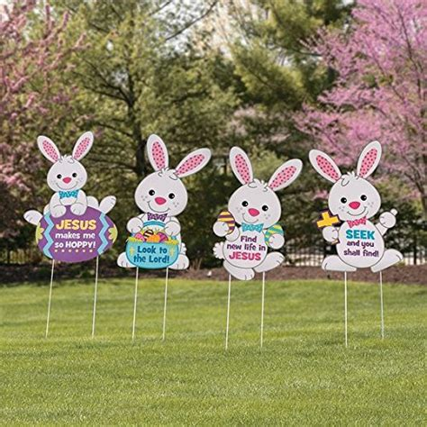 Easter Bunny Outdoor Yard Decoration Set Of 4 Religious Easter Bunny Rabbits Whimsical