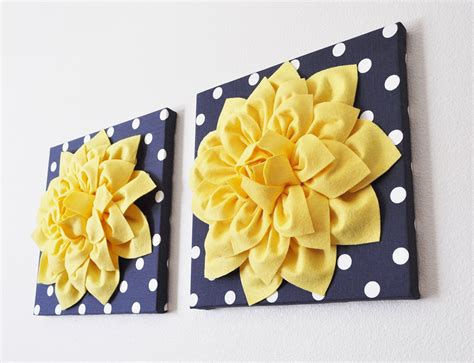 Navy Wall Decor navy wall decor yellow dahlia on navy and white polka dot 12