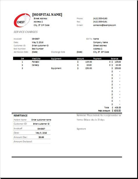 ms excel medical invoice template word excel templates