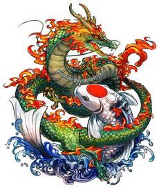 dragon and koi commssion by yuumei on deviantart