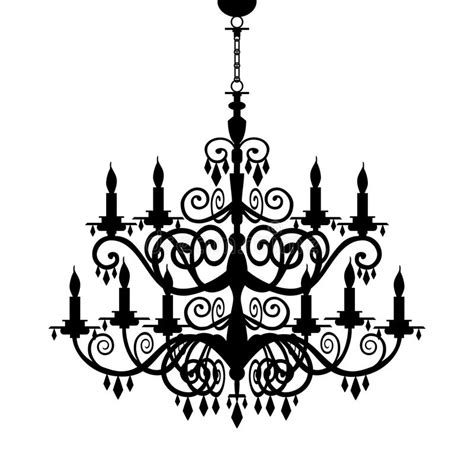 Black And White Chandeliers Baroque Chandelier Silhouette Stock Vector Illustration 19201949