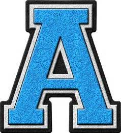 presentation alphabets light blue varsity letter a