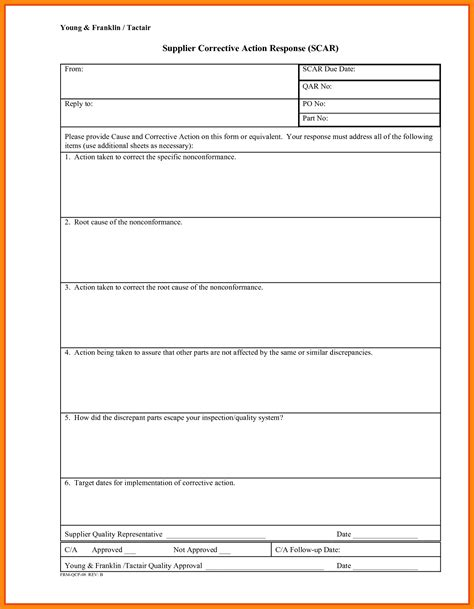 6 corrective action form template nurse resumed