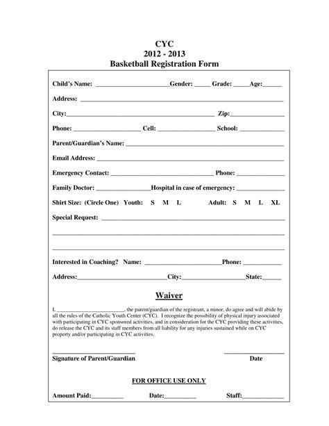 10 Basketball Registration Form Sles Basketball Registration Template