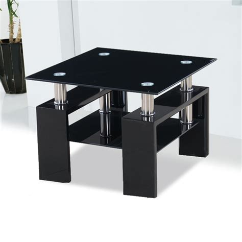 Kontrast Black Glass Side Table With High Gloss Legs 18205