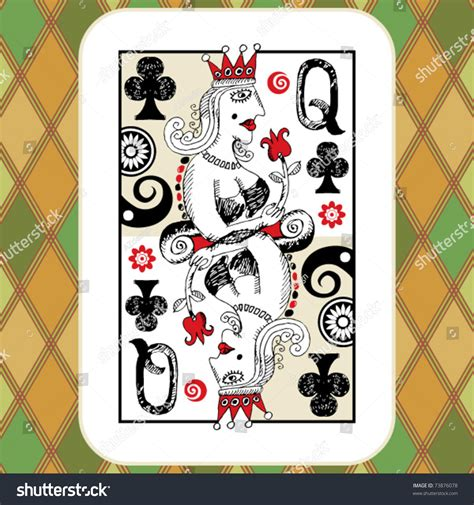 doodle club play deck cards doodle stock vector 73876078