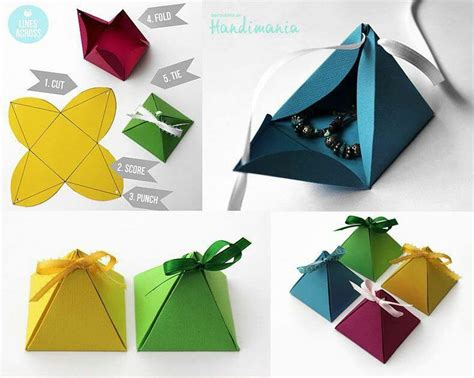 Make Paper Gift Box - origami box pyramid paper crafts diy and
