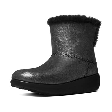 fitflop mukluk shorty ii black shimmer suede pull on