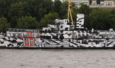 boat paint london hms president covered in dazzle camouflage on the river