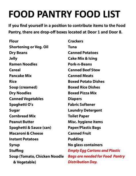 Church Food Pantry List by Food Pantry Lakeview Church