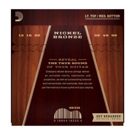 light or medium guitar strings d addario nickel bronze acoustic guitar string set 12 56