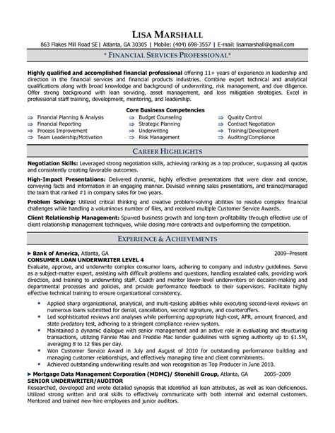 resume exle insurance underwriter resume sle loan underwriter description and duties