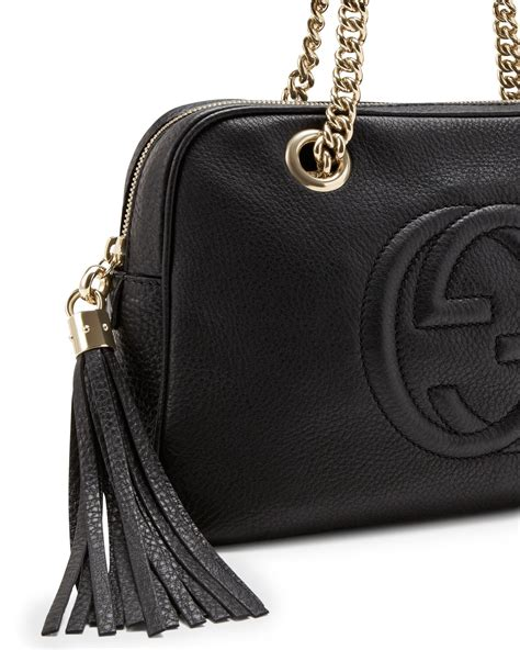 Gucci Soho Leather Backpack Ss17 18 lyst gucci soho leather doublechainstrap shoulder bag in black
