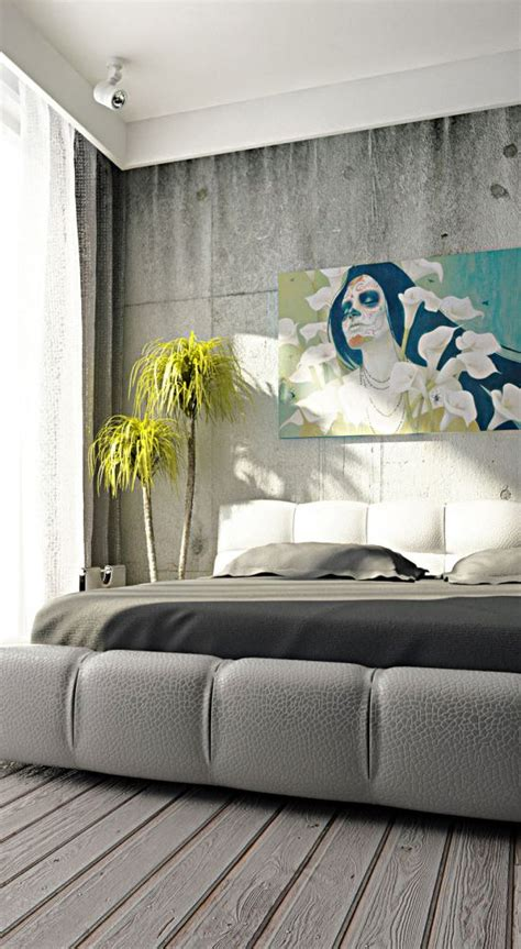 creative concrete walls  bedroom ultimate home idea