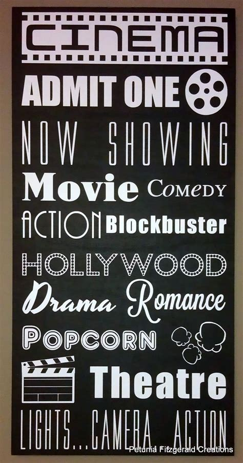 moviecinema themed typography word art painting