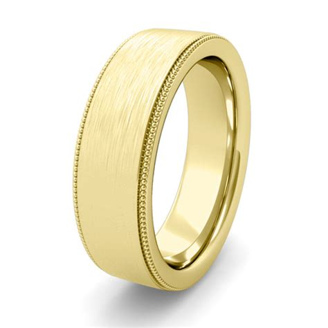 Flat Rin 895 mens brushed finish wedding ring in 18k gold comfort fit