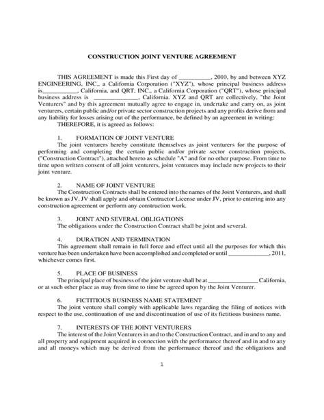 Construction Joint Venture Agreement Template construction joint venture agreement form free