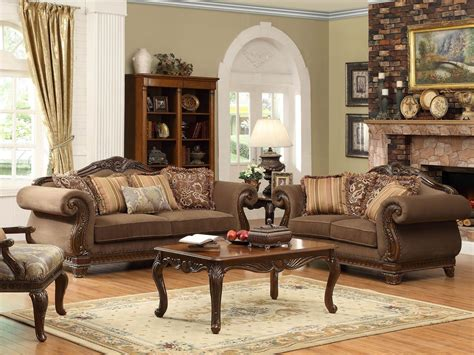 Wood Living Room Set by Odessa Traditional Brown Wood Trim Chenille Sofa