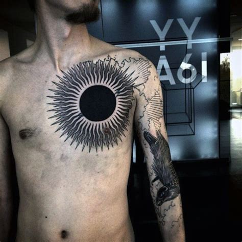 black sun tattoo big chest sun with rays
