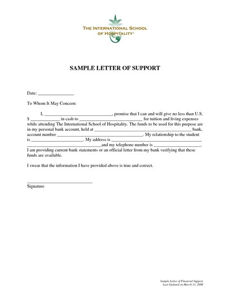 Declaration Support Sle Letter financial support declaration letter sle 28 images