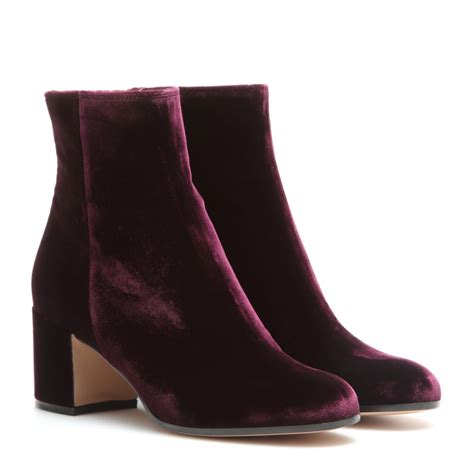gianvito royal velvet ankle boots in purple lyst