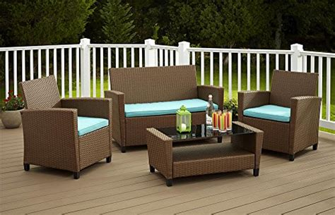 cosco products  piece malmo resin wicker patio set brown  teal cushions buy