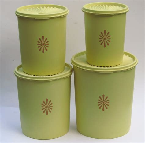 Tupperware Green Canister Set 4 yellow green tupperware canisters vintage set of 4 servalier 10pc stackable canisters